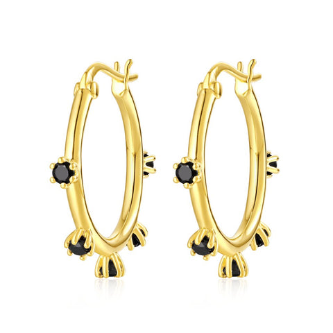 The Adele Small Onyx Hoop Earrings