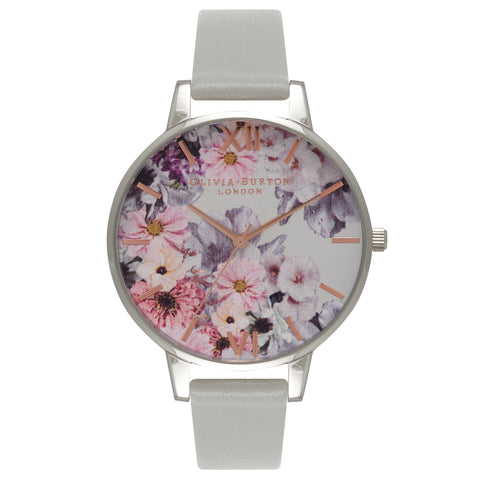 Enchanted Garden Dove Grey Leather Strap Watch