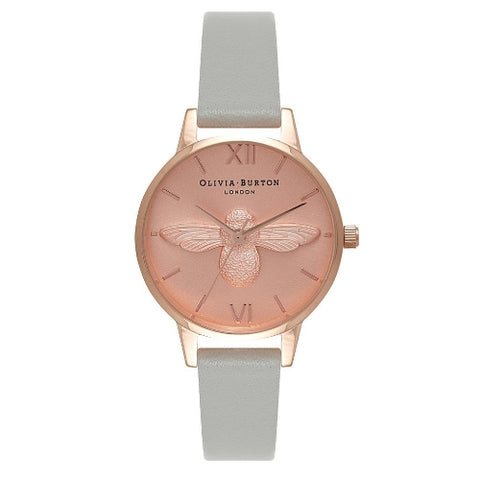 Midi Moulded Bee Grey Rose Gold Watch