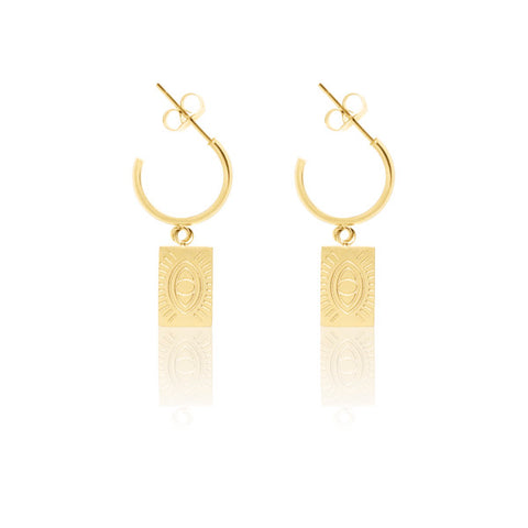 Protection Eye Gold Hoops