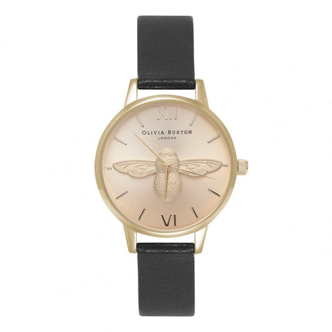 Midi Moulded Bee Black Gold Watch