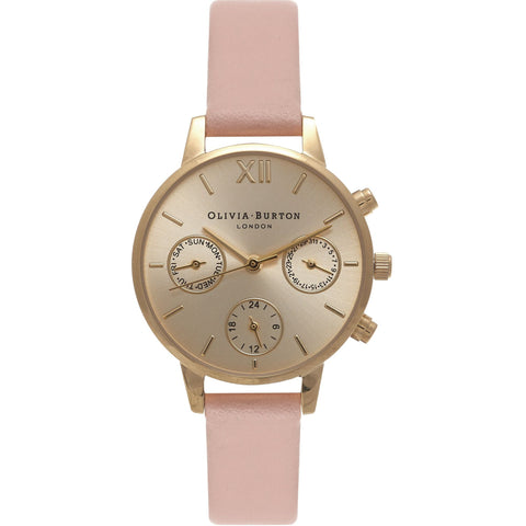 Midi Dial Chrono Detail Dusty Pink and Gold Watch