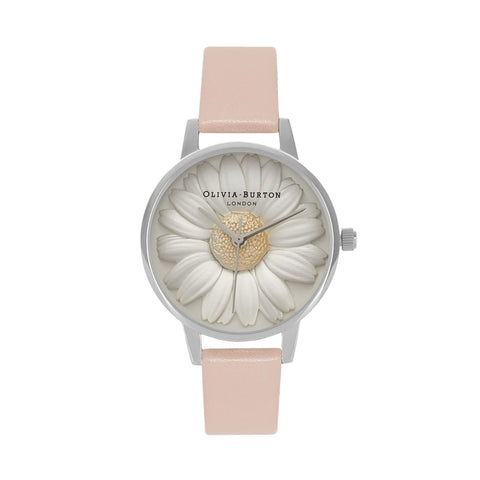Midi Dial Flower Show 3D Daisy Dusty Pink Silver