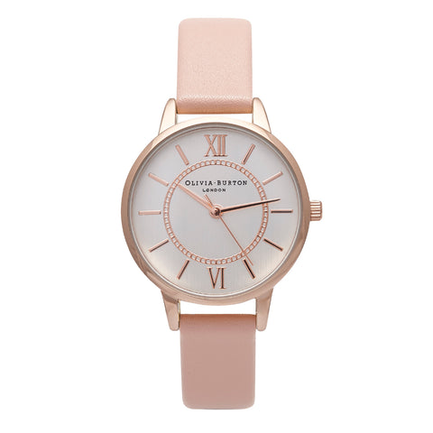 Wonderland Dusty Pink Leather Watch
