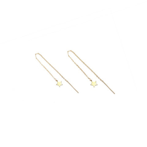 Star Threader Gold Earrings