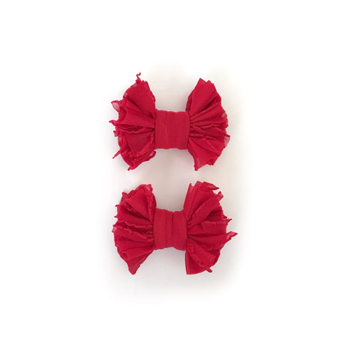 Red Scrappies (set of 2 clip in bows)