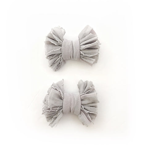 Slate Gray Scrappies (set of 2 clip in bows)