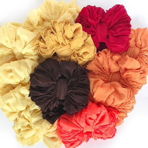 Toddler Size Ruffle Bow Headbands (12 months-3/4 years)