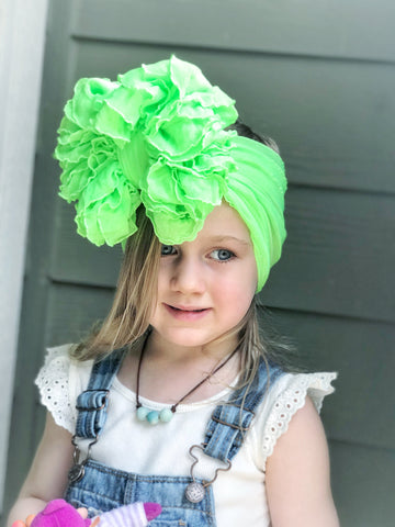 Electric Green Ruffle Bow