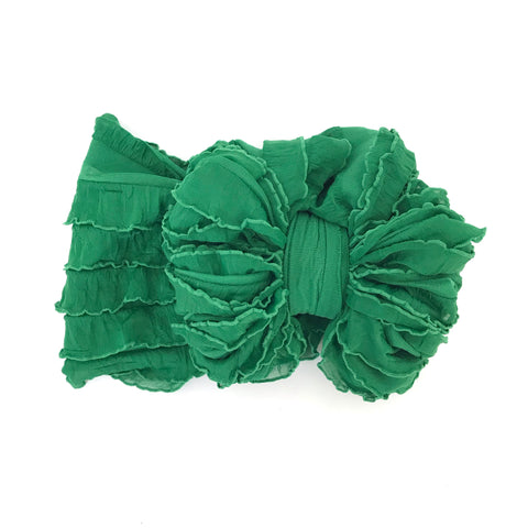 Green Ruffle Bow