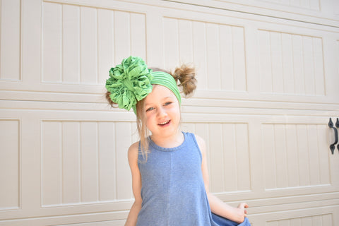 Spring Green Ruffle Bow
