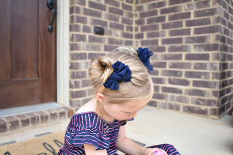 Navy Scrappies (set of 2 clip in bows)