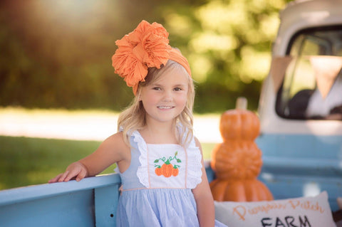 Pumpkin Ruffle Bow Headband *flat middle*