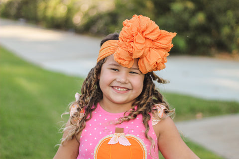 Pumpkin Ruffle Bow Headband