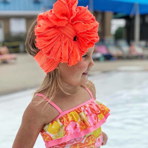 Blazing Orange Ruffle Bow