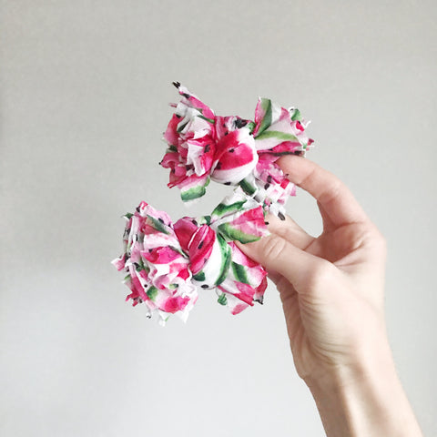 "Watermelon Scrappies (set of two, 3"" clip in bows)"
