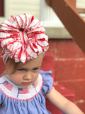Candy Cane Ruffle Bow