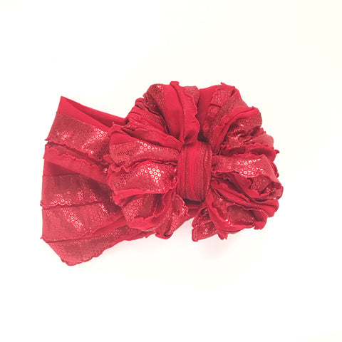 Sparkly Red Ruffle Bow