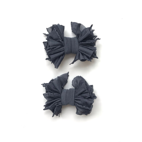 Gray Scrappies (set of 2 clip in bows)