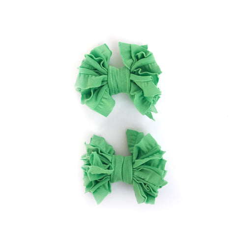 Spring Green Scrappies (set of 2 clip in bows)