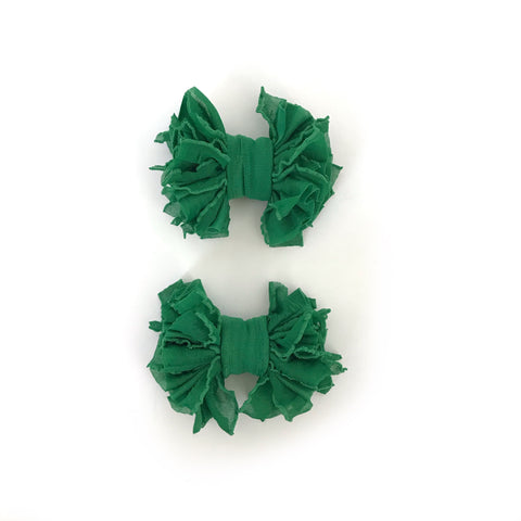 Green Scrappies (set of 2 clip in bows)