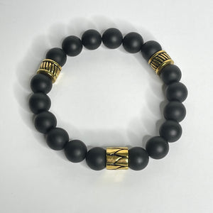 Tribal Beads Men Bracelet Gold Stainless Steel