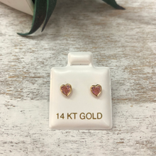 Children's Pink Heart Earrings Cubic Zirconia 14k Gold