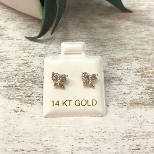 Children's Butterfly Earrings Cubic Zirconia 14k Gold