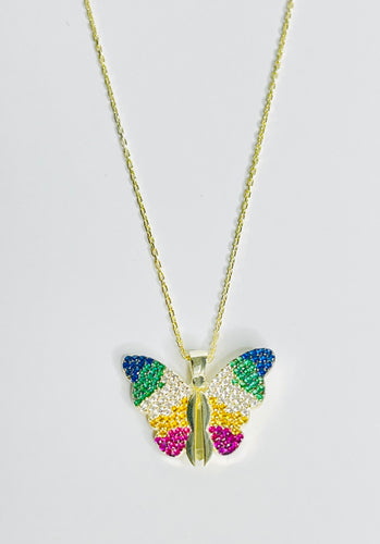 Butterfly Heart Necklace 18k Gold over Sterling Silver