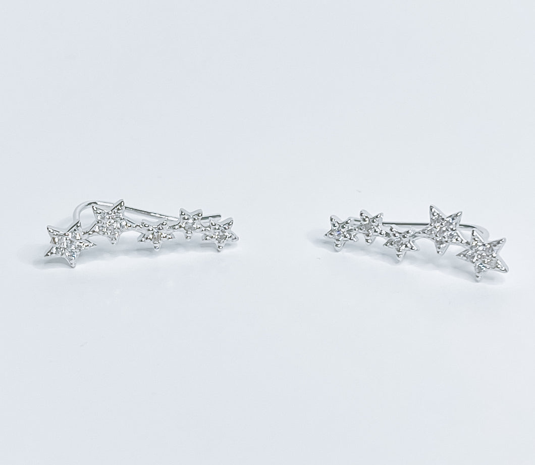 Twinkle Little Star Climber Earrings Sterling Silver