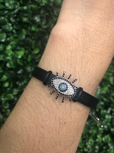Evil Eye Leather Silver Bracelet Stainless Steel