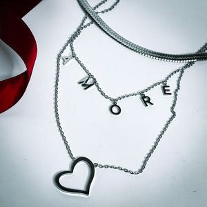 Amore Mio Layered Necklace Set Stainless Steel