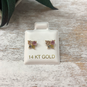 Children's Butterfly Earrings Multi-Color Cubic Zirconia 14k Gold