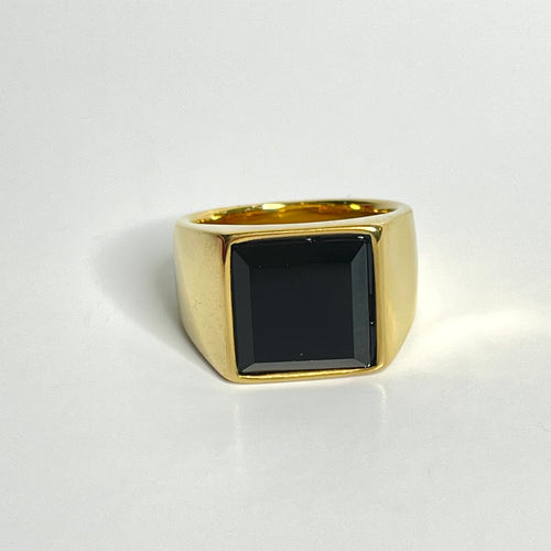 Black Onyx Simulated Men Ring Gold Stainless Steel