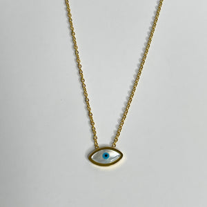 Evil Eye Necklace Gold over Stainless Steel