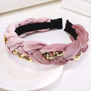 Braided Gold Chain Velvet Headband
