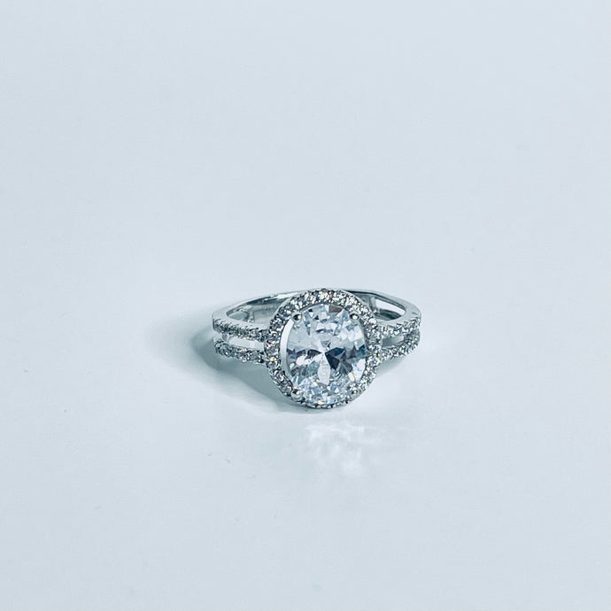 Classic Oval Cut CZ Engagement Ring Sterling Silver