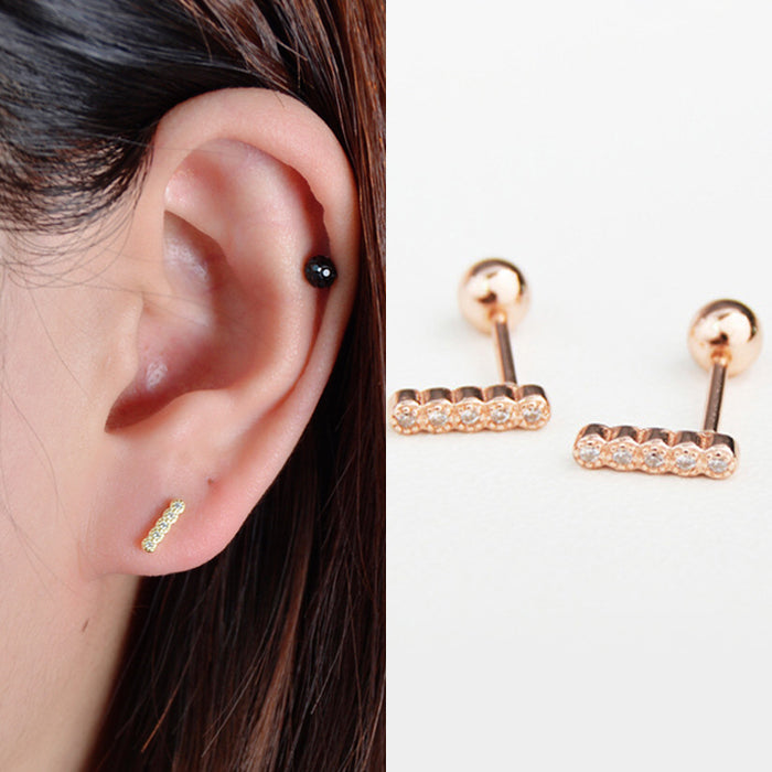 Stick Gold over Sterling Silver Single Stud Earring