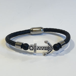 Anchor Leather Men's Bracelet Stainless Steel