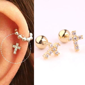Cross Gold over Sterling Silver Single Stud Earring