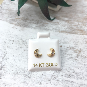 Children's Crescent Moon Earrings 14k Gold