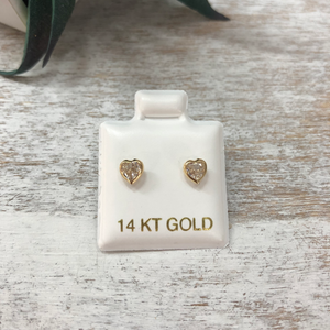 Children's Heart Earrings Cubic Zirconia 14k Gold