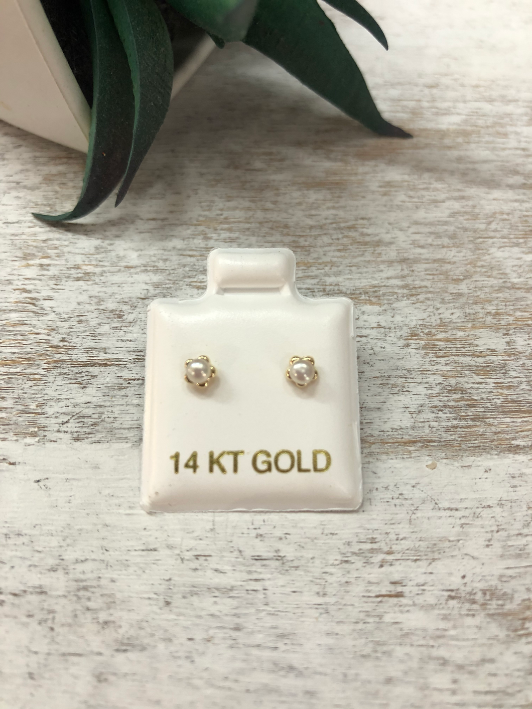 Children's Pearl Flower Earrings 14K Gold