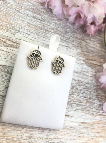 Powerful Hamsa Hand Evil Eye Earrings Sterling Silver