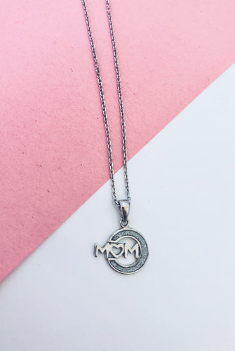 Mom Heart Glitter Necklace Sterling Silver