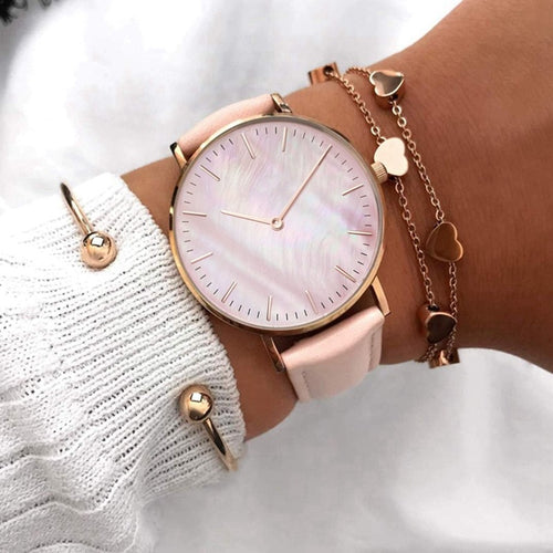 Women Leather Strap Fashion Wrist Watch