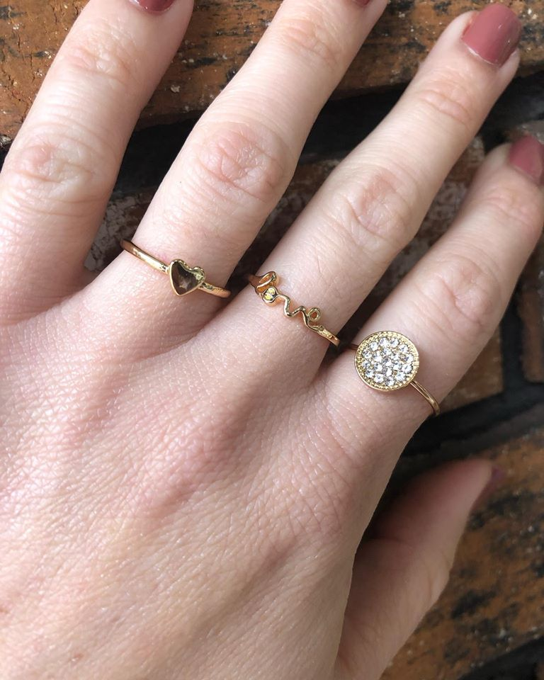 Stack of Love Heart Rings Set