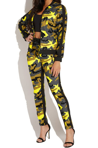 Lady's Outfit Camouflage Print Set