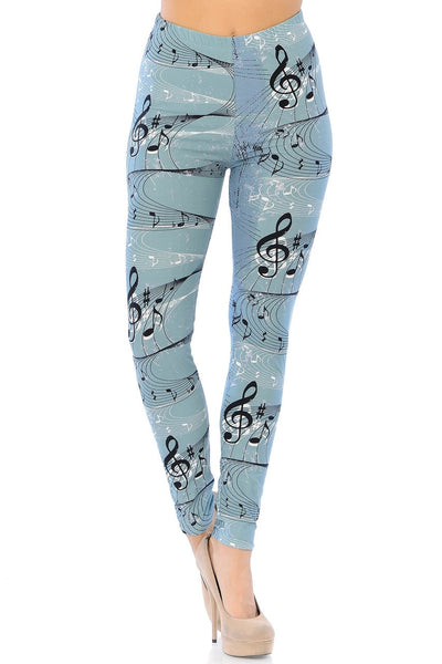 Leggings Swirling Music Notes