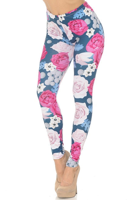 Jumbo Pink and Red Rose Leggings